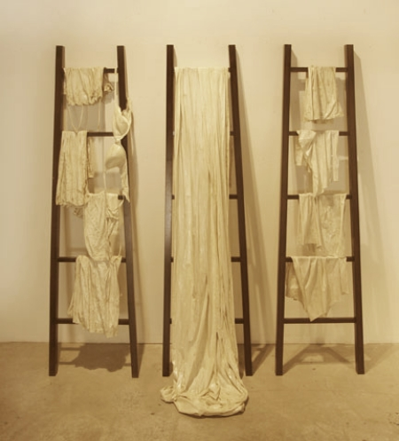 "Don't Hang out Your Dirty Laundry I, II, and III, 2011, Mixed Media, approximately 76"" X 20"" each (sold)"