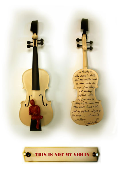 My Story, Detail center violin in a 21 violin installation, 2009, Mixed Media (sold)