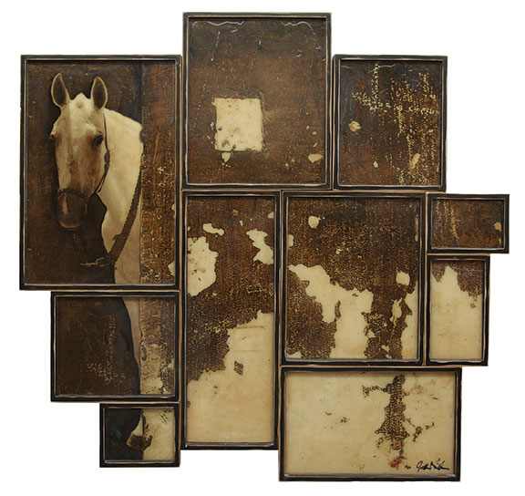 "Discreet, 2012, Mixed Media on 10 panels, 56"" X 57"""