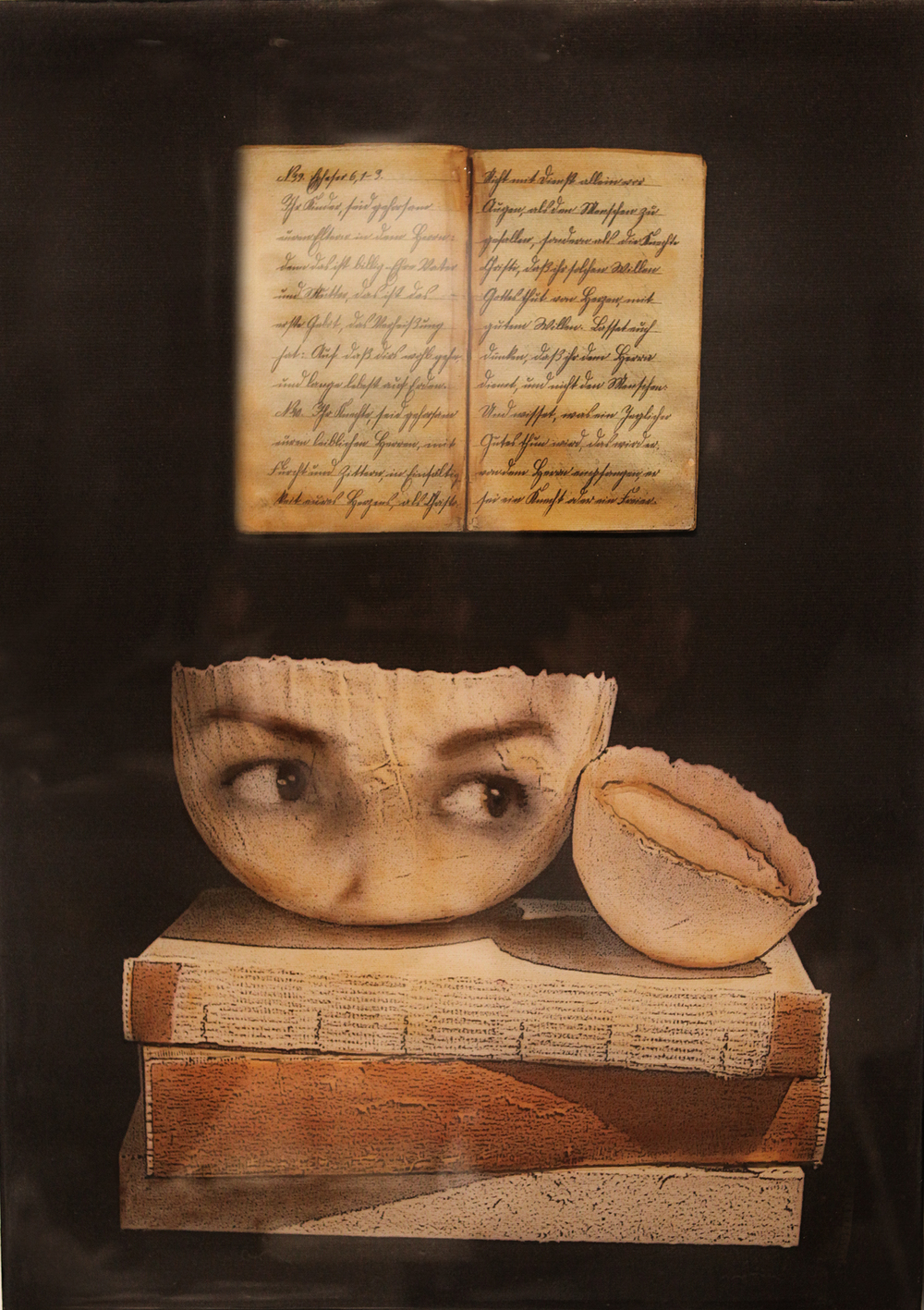 "Observing the Past I, 2013, Mixed media on panel, 24"" x 14"""