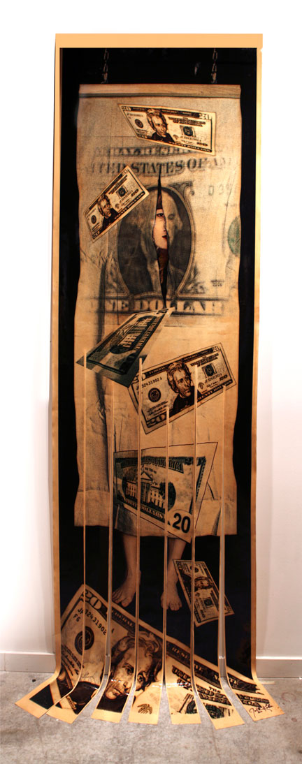 "Unraveling the Dollar , 2011, Mixed Media on Canvas, 128"" X 36"""