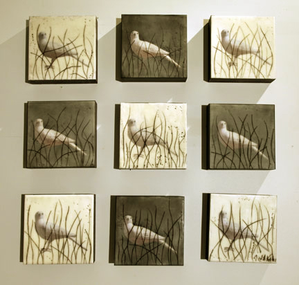 "Birds in Brush, 2011, Mixed Media, 9 panels 8"" X 8"" each"