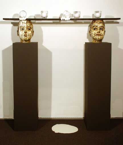 "Spilled Milk, 2005, Mixed Media, 61"" X 60"" X 12"""