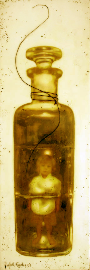 "Green Bottle with Flower, 2008, Mixed Media, 36"" X 12"""