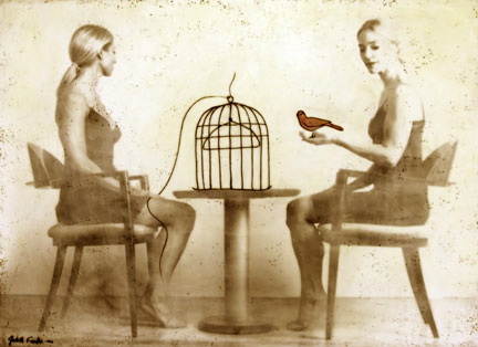 "Red Bird and Cage and Two Women, 2011, Mixed Media, 36"" X 48"""