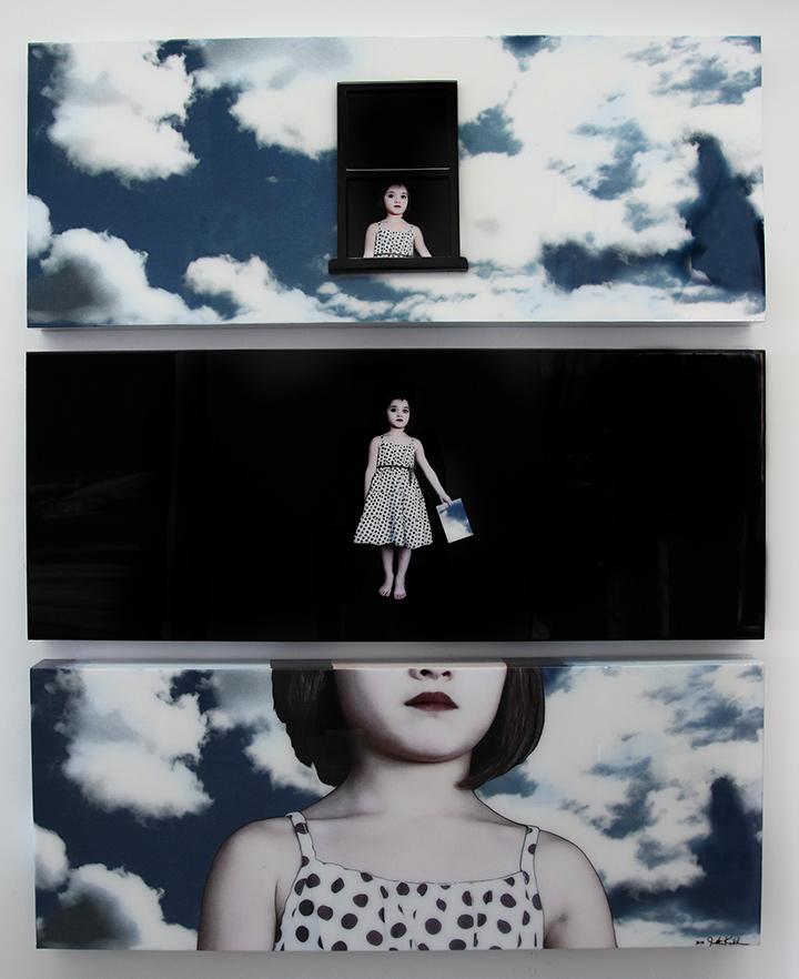 """""""Piece of the Sky"""", 2014, Triptyque, chaque panneau est de 24 """"X 60"""", Médias mélangés intégrés dans la résine"""
