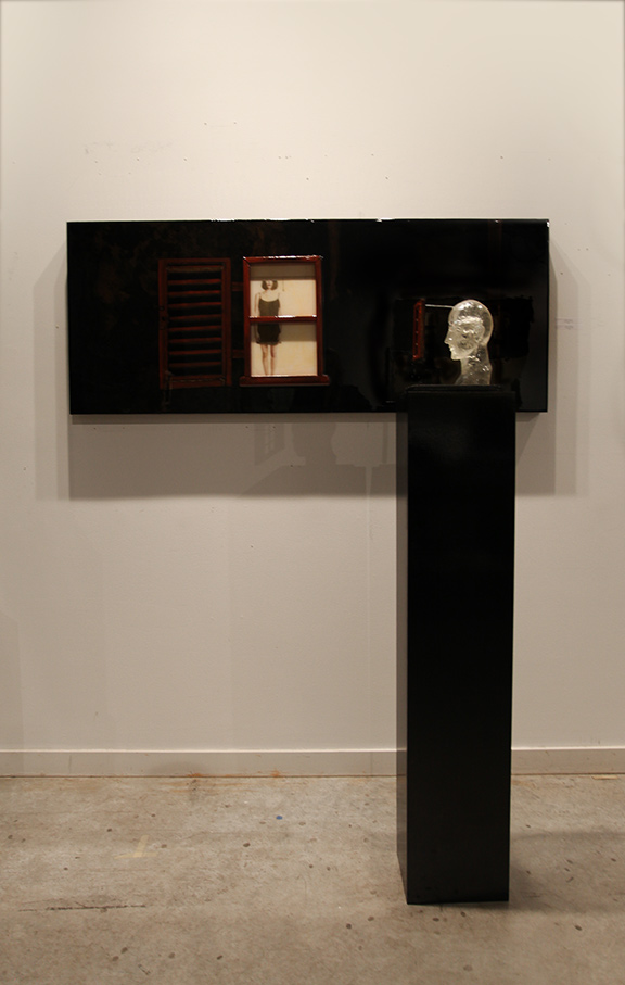 """Waiting by The Window"", 2014, 24"" X 60"", Mixed Media embedded in resin and  ""Transparent Thoughts"" 2014, 58.5"" X 10"" X 8.5"" (including the pedestal), Mixed Media"