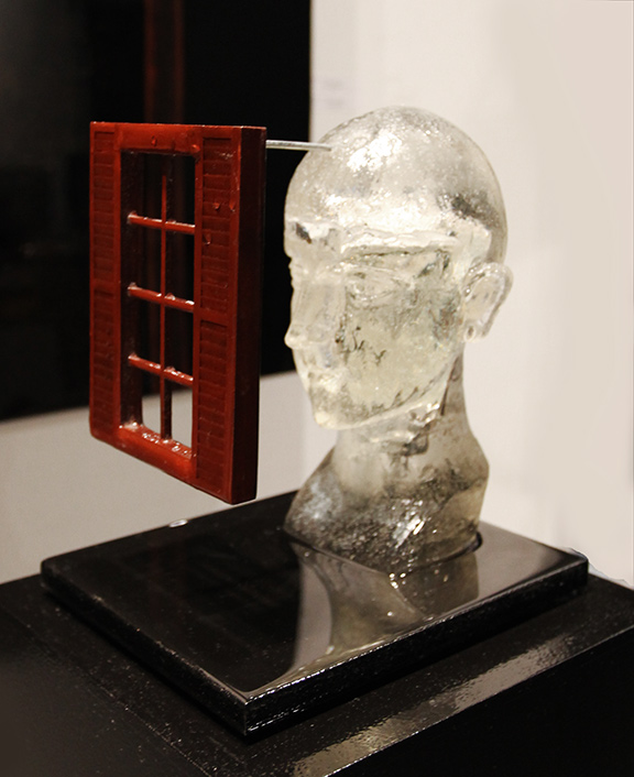 """Transparent Thoughts""  front/side view, 2014, 58.5"" X 10"" X 8.5"" (including the pedestal), Mixed Media"