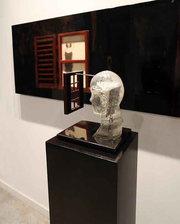 """Transparent Thoughts""side/back view, 2014, 58.5"" X 10"" X 8.5"" (including the pedestal), Mixed Media"