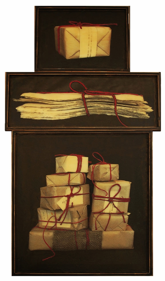 "All Packaged Up, 2012, Mixed Media on 3 panels, 62.75"" X 31"""