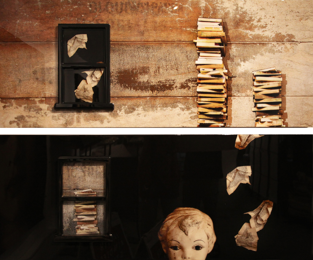 """Writer's Block"" 2014,  24"" X 60"", Mixed Media embedded in resin (sold)"