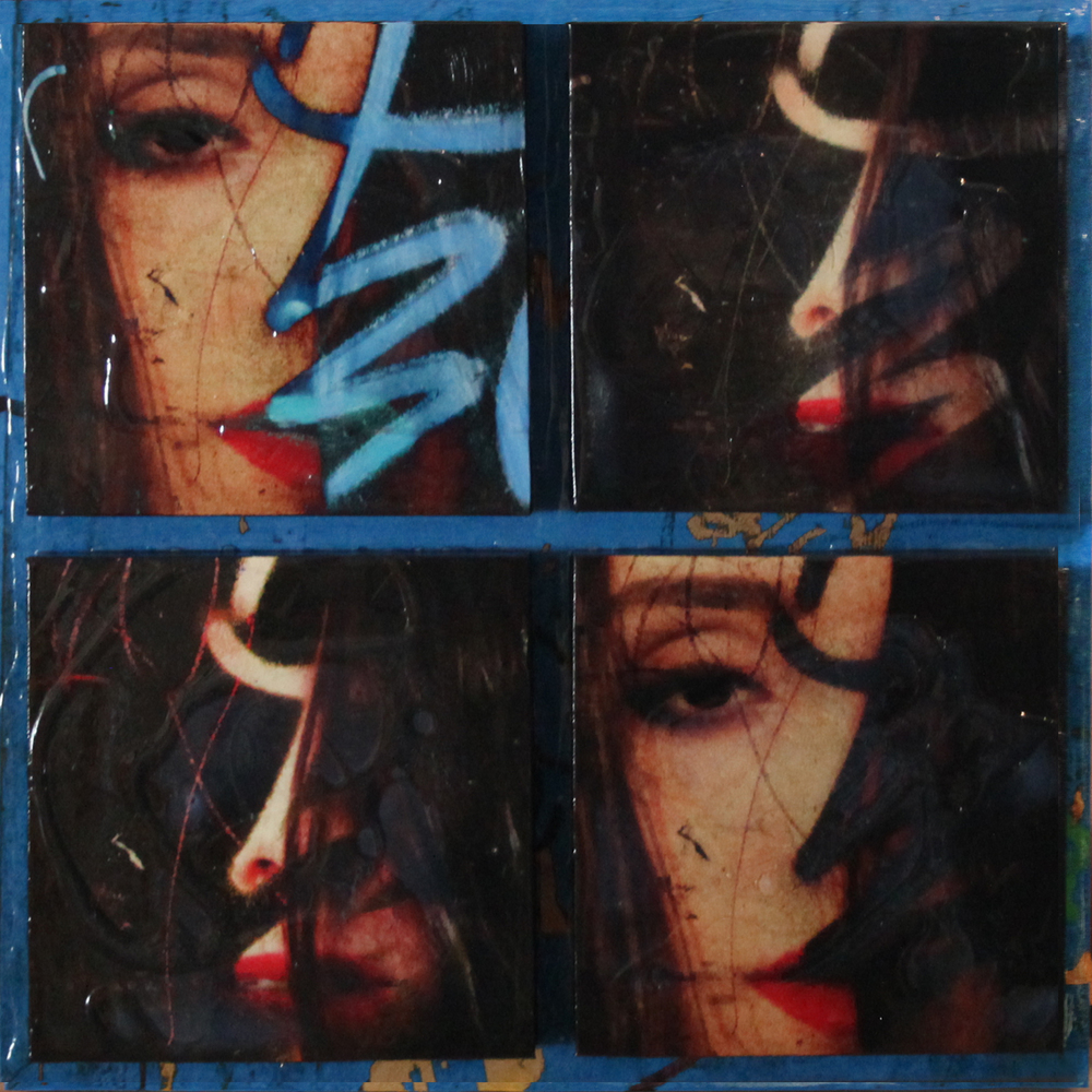 """Obscured"",  Mixed Media on 5 connected panels, 2015, 18"" x 18"" ( Sold )"