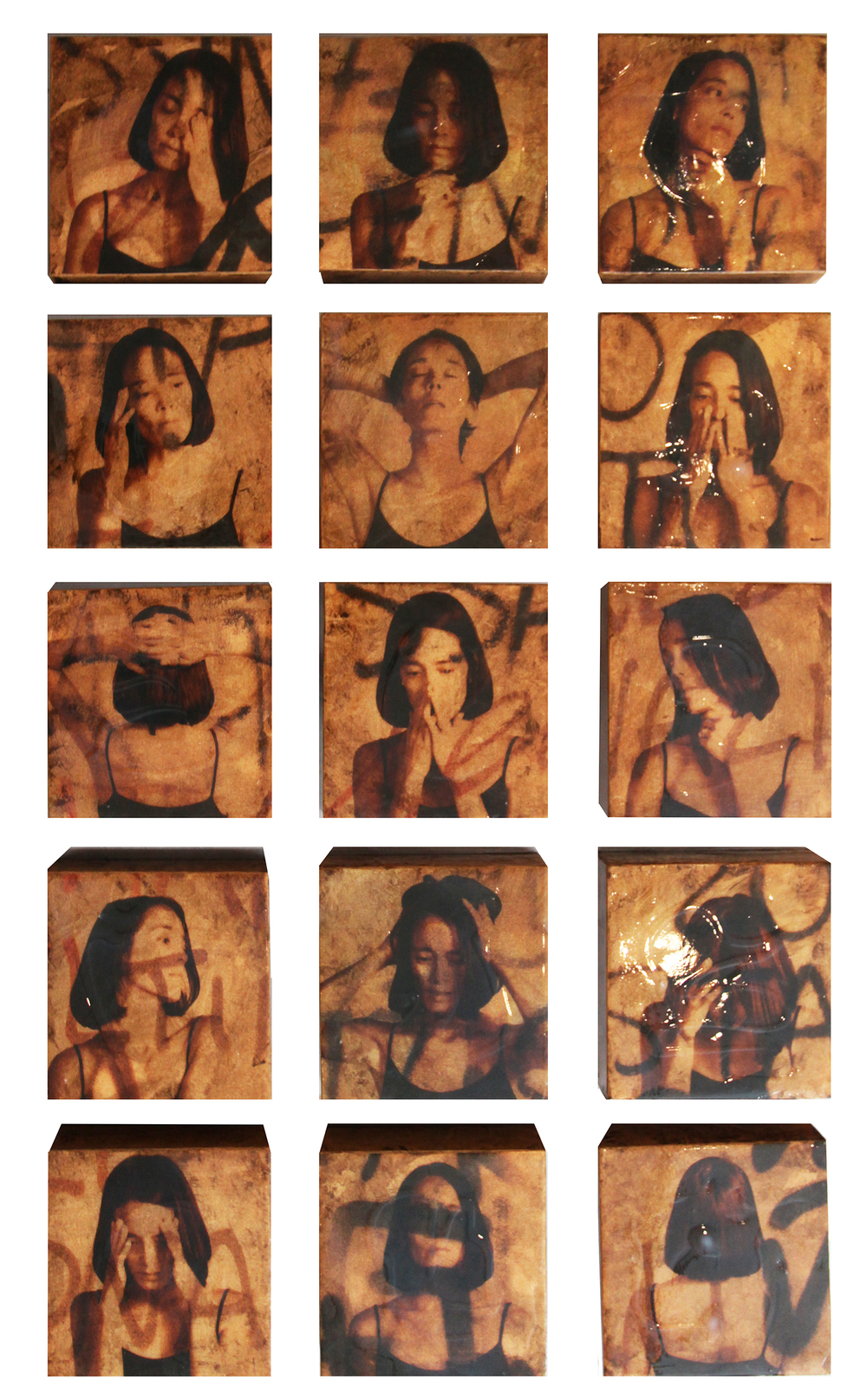 """Emotions"",  Mixed media on 16 Panels, 2015, Each Panel is 6"" x 6"" (Sold)"