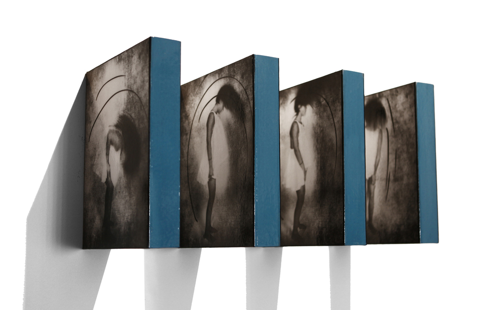 "Movement Installation, 2015, Mixed Media on 4 double sided panels, 10"" x 8"" x 21"" as shown"