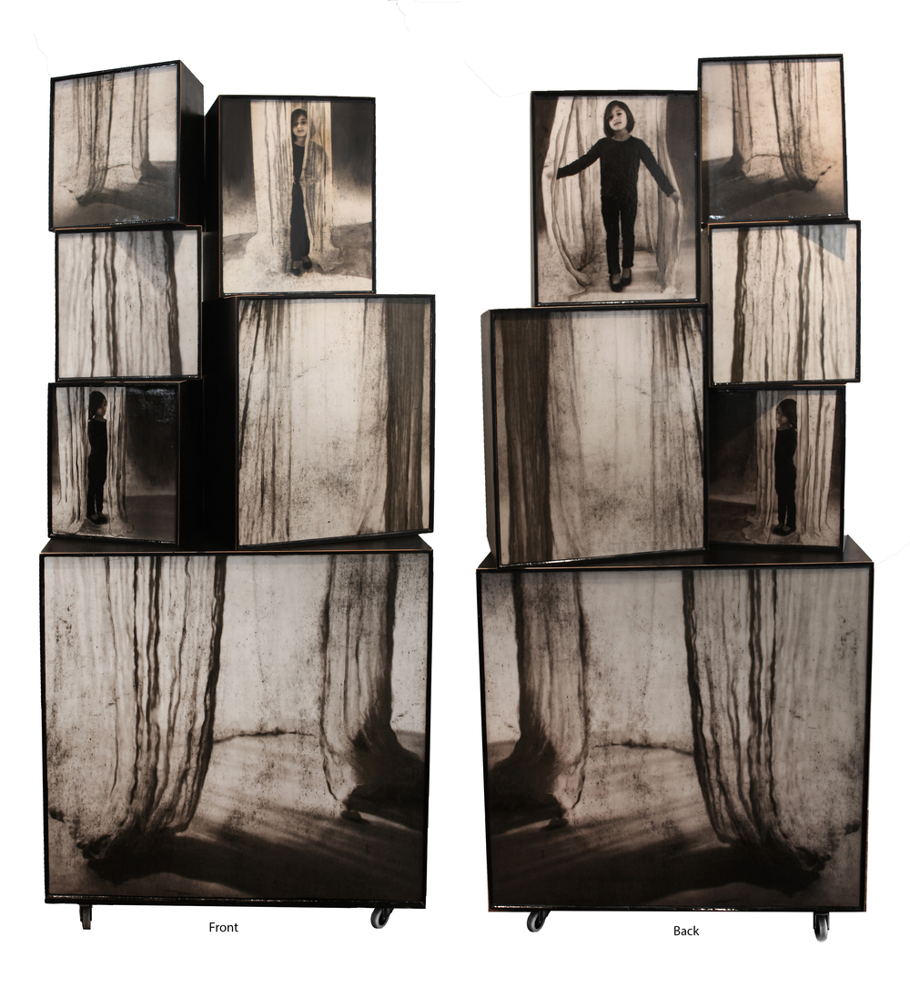 "Shroud, 2015, 75.75"" x 34"" x 17.5"", Mixed Media on constructed wooden boxes on wheels"