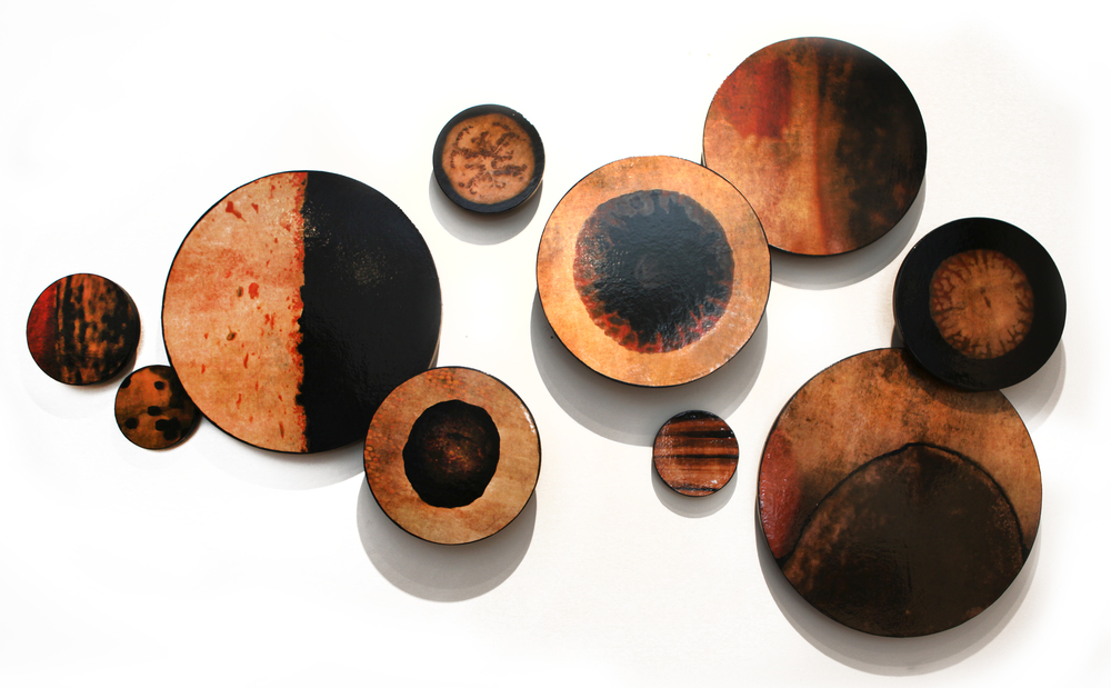 "Orbs Installation, 2015, Mixed Media on 10 panels with different depths from the wall, 6"", 8"", 12"", 16"" and 20"" Diameters"