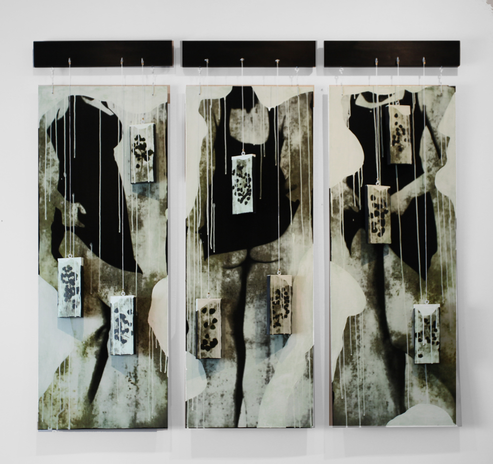 "Icing on the Cake Triptych, 2016, Mixed Media with suspended Objects, Each Panel 54"" X 18"""