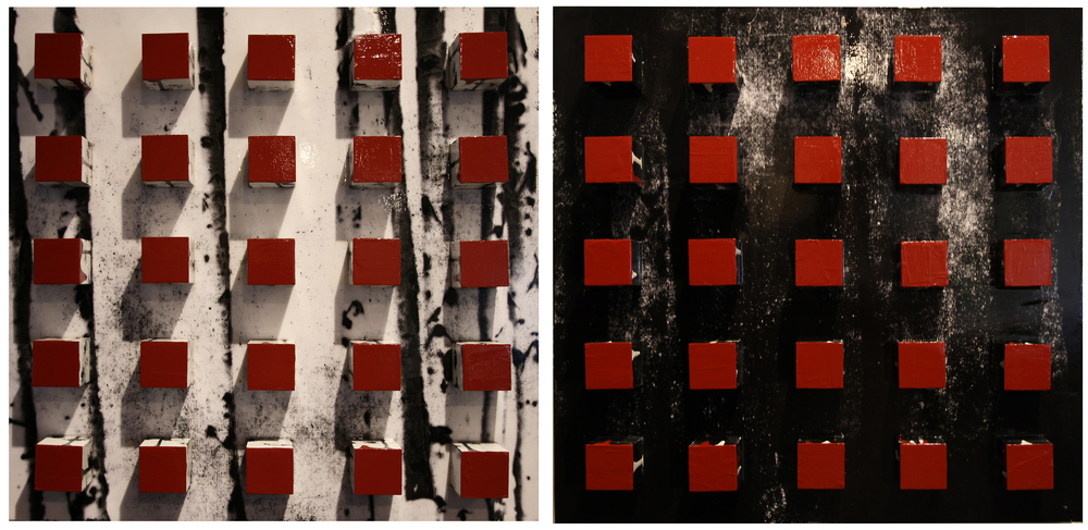 "So Many Trees, 2016, Mixed Media diptych, each panel 24"" x 24"" x 4"""