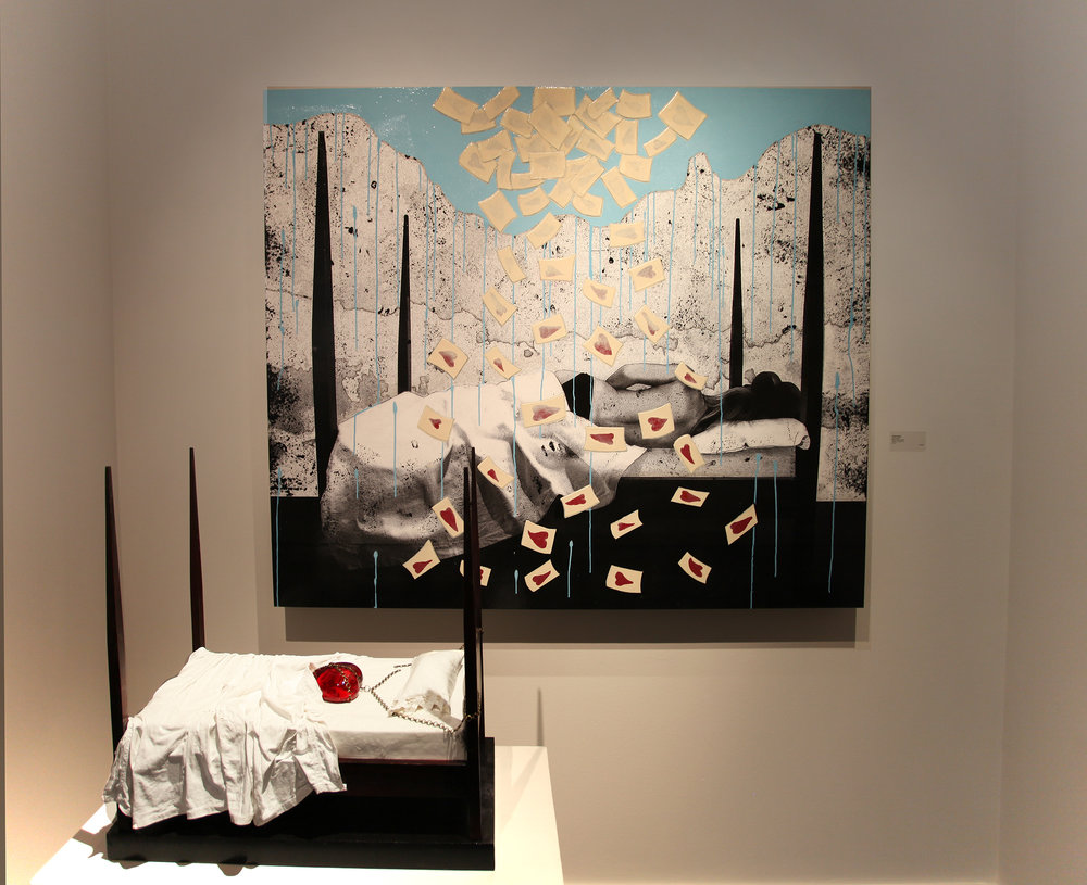 "Sweet Dreams and Unbound Love (bed installation), Painting 48"" x 60"", Mixed Media on Panel, 2016"