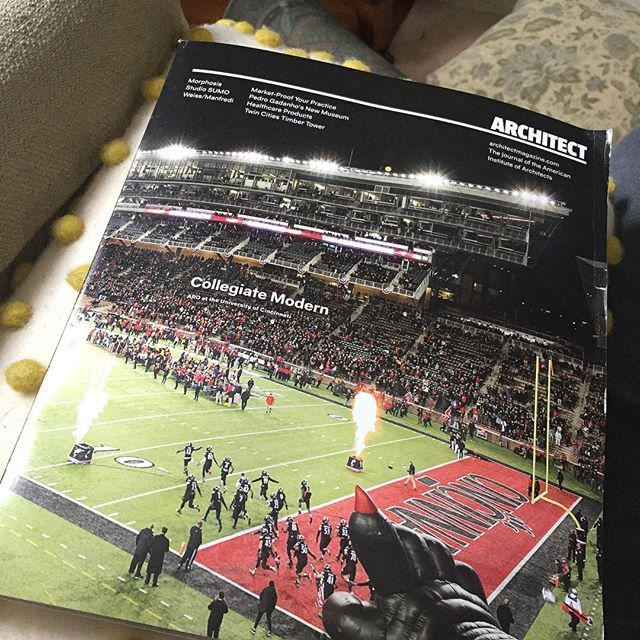 Catching up on this month's of Architect has me intrigued. UC's Nippert stadium on the cover. Accompanying a feature article on Morphosis's new LTU building. Both my alma maters recognized for great architecture in a single magazine. Great day to drink coffee, read, and reflect on my time studying architecture at both institutes.