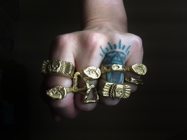 More production work on some of my sculptural bronze rings. These were carved in wax, molded, and cast.