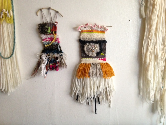 Wall hangings I've made. The walls need to be repainted, but it's not happening any time soon.