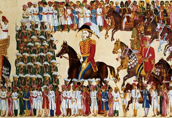 East India Company officials depicted in a painting