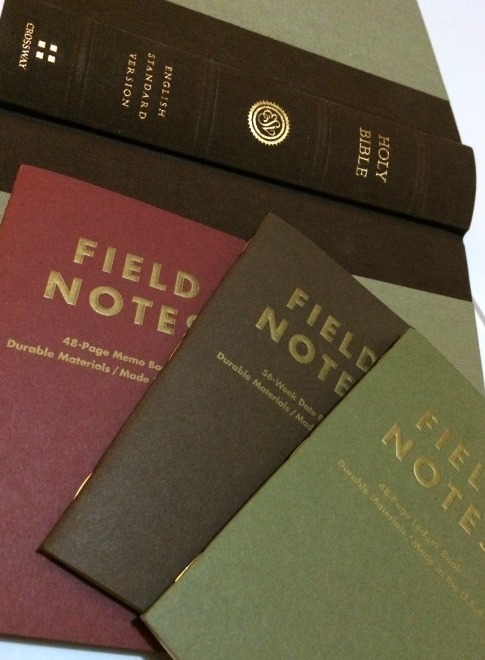 Ambition Field Notes with ESV Readers' Bible cloth-over-board edition.