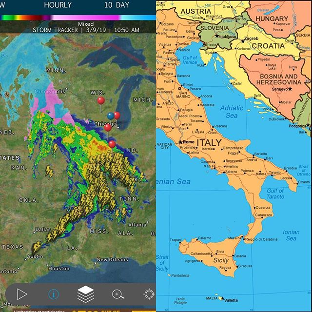 One of these was the radar today. The other is #Italy. Can you guess which is which? #Weather #boots