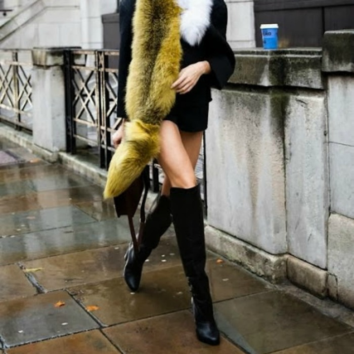 I love faux fur for fall and winter as it is both stylish and functional — I also love over-the-knee boots ever since I first watched Pretty Woman.