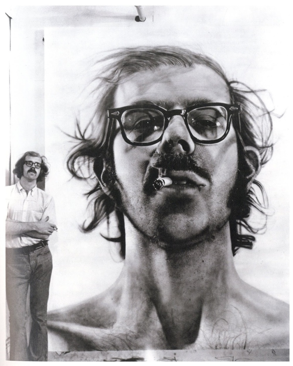 Chuck Close with his self-portrait, 1968