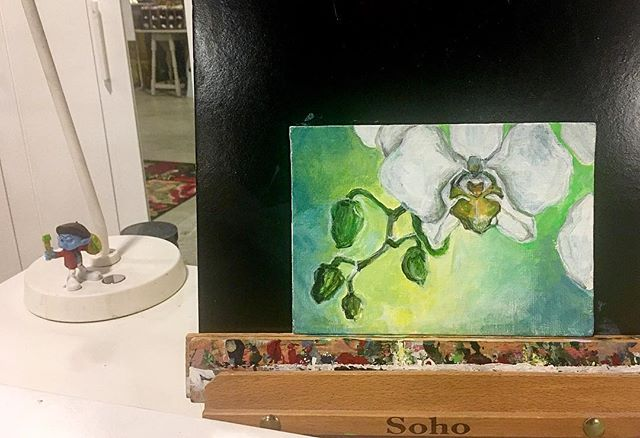 Small work in progress. Mother's Orchid in the Window. #artlovers #painting #acrylicpainting #originalartwork