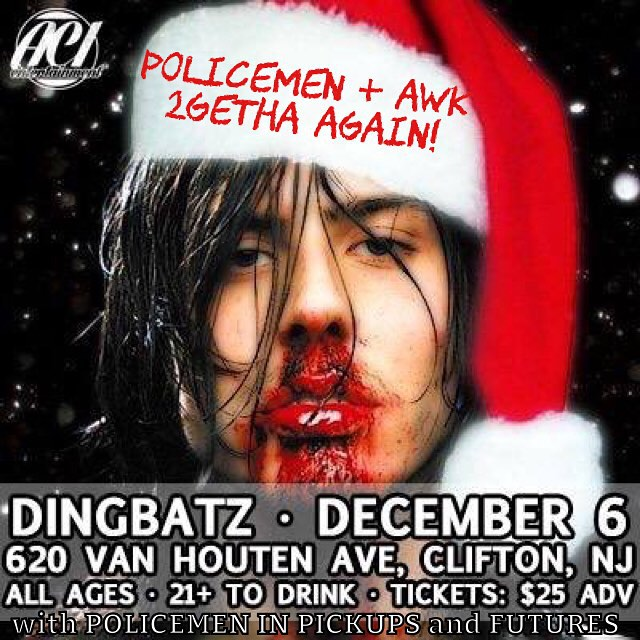 Guys, Christmas came early!!!! 3 years ago, we played a show with one of our biggest musical and lifestyle idols: 🎸ANDREW WK 🎸 Now we get to do it again at Dingbatz, NJ's premier rock & metal bar. We couldn't be more honored and excited to 🍕🎉💥PARTY HARD💥🎉🍕 with the world's leading purveyor of partying. Get at us for tickets because this event will most definitely sell out. @andrewwk @futuresnj @dingbatznj #partyhard