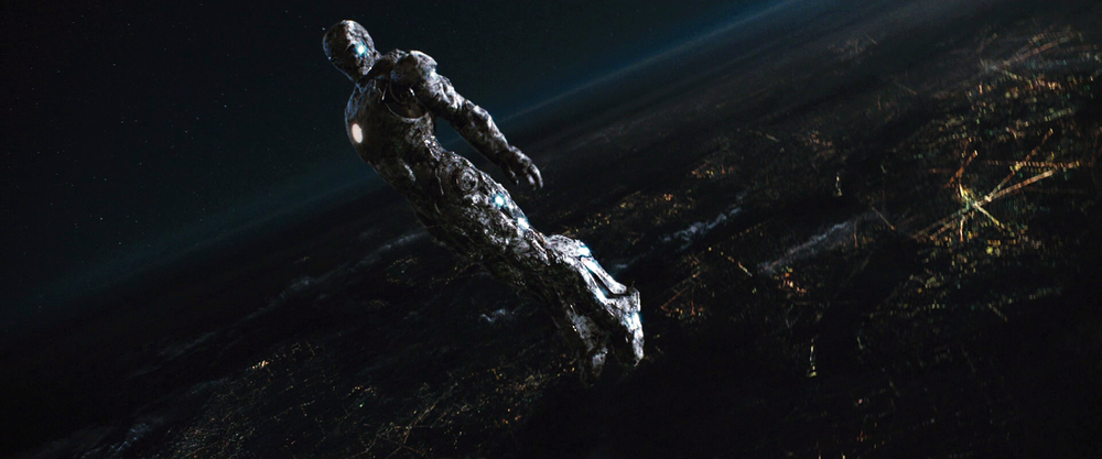 I had to create a number of different matte paintings that visualized the terrain, ground  plans and earth atmosphere as Iron Man climbs higher into the sky. I created all the mattes for this sequence.
