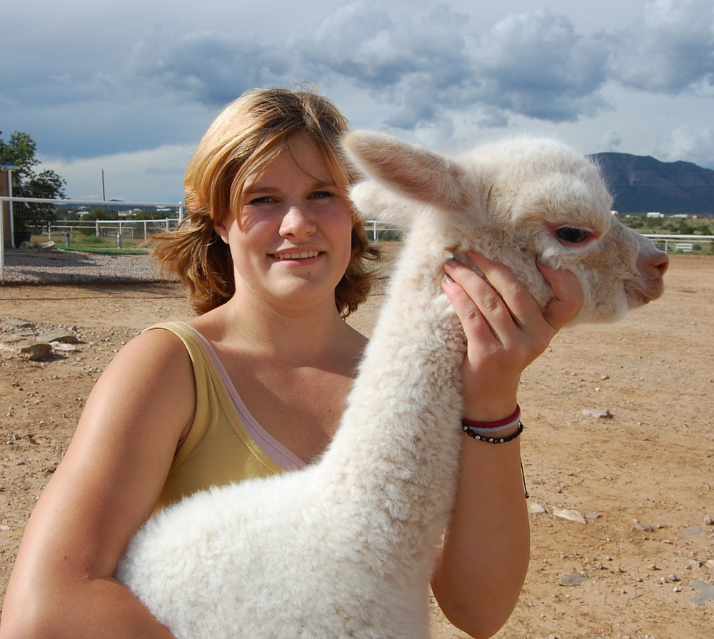 Alyssa and a gentle Cria!