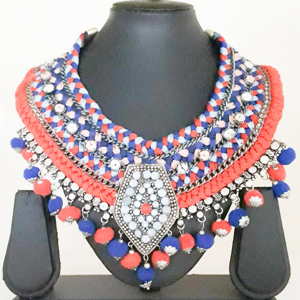 Threaded Necklace - Handmade with a lot of twists. Pair this with a Indian and Western outfits.