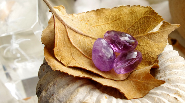 Faceted amethyst beads hanging out on two of my treasures, some old dried leaves and a cool fossilized ancient sea creature.