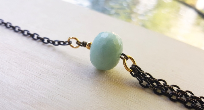 Chubby facetted amazonite rondelle pendant