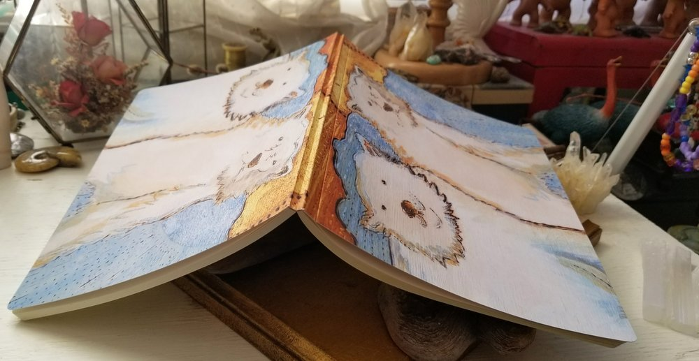 Notebook with Polar Bear Love painting. The colours turned out pretty true to the original so that is good. Plus the gold leaf prints better than I thought it would!