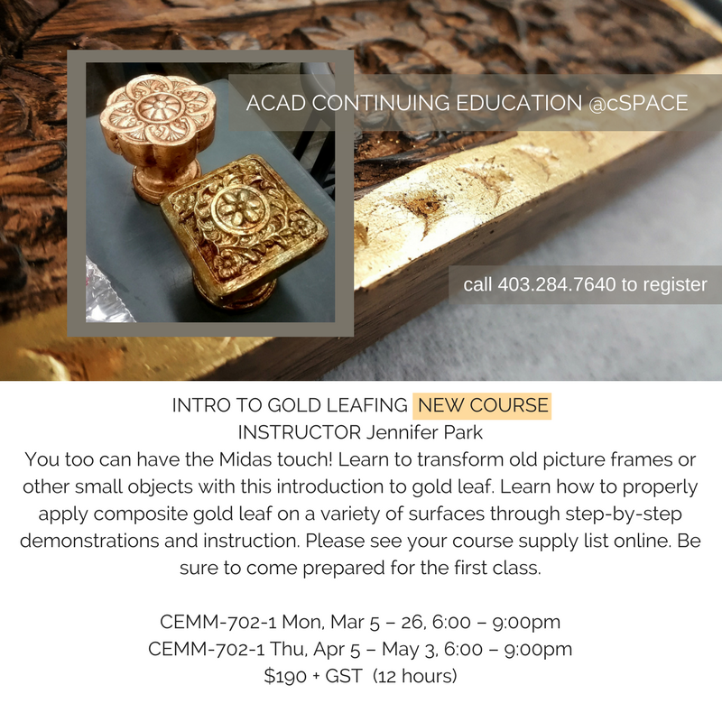 INTRO TO GOLD LEAFING NEW COURSE INSTRUCTOR Jennifer ParkYou too can have the Midas touch! Learn to transform old picture frames or other small objects with this introduction to gold leaf. Learn how to properly apply.png
