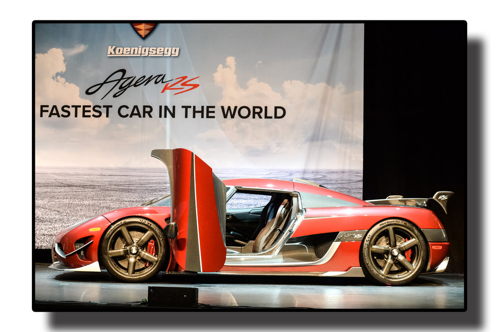 - Looking for something thatyour neighbours don't already have.....Agera RS, the fastest production car in the world, was showcased for the first time in Canada at the 2018 Canadian International Autoshow