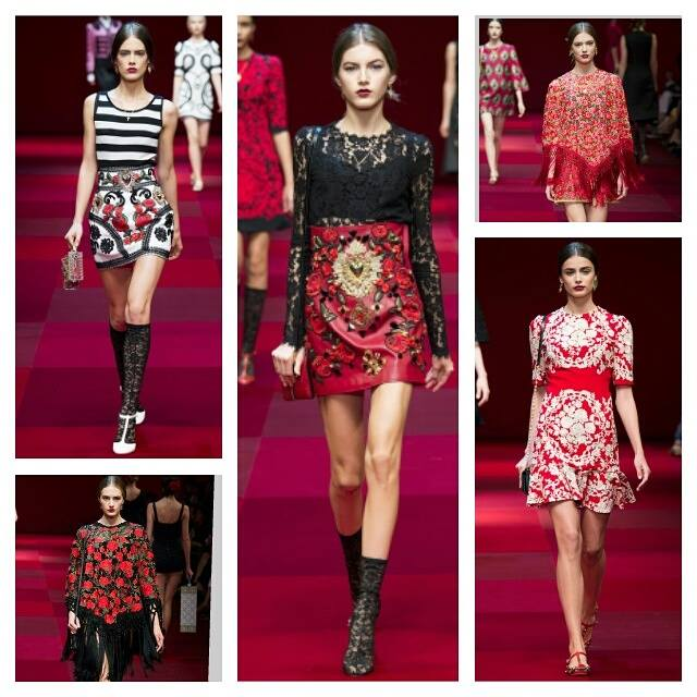Classic red, white, black, and luxurious gold from Domenico Dolce and Stefano Gabbana for spring/summer 2015