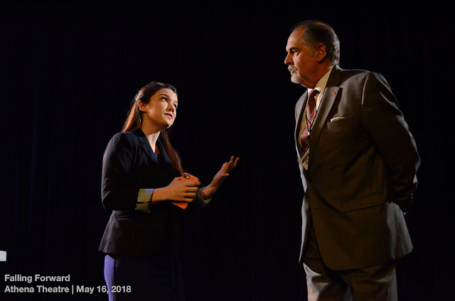 Kelsey Peterson and Steve Hoose in  help who's next  by Kathryn Funkhouser, Dir. Veronica Dang, athena Theatre, 2018. Photo: BittenbyaZebra.