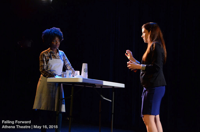 shavanna Calder and Kelsey Peterson in  help who's next  by Kathryn Funkhouser, Dir. Veronica Dang, athena Theatre, 2018. Photo: BittenbyaZebra.