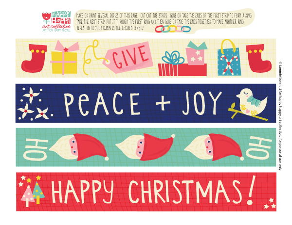 Christmas FREEBIE paper chain by tammie bennett for happy happy art collective