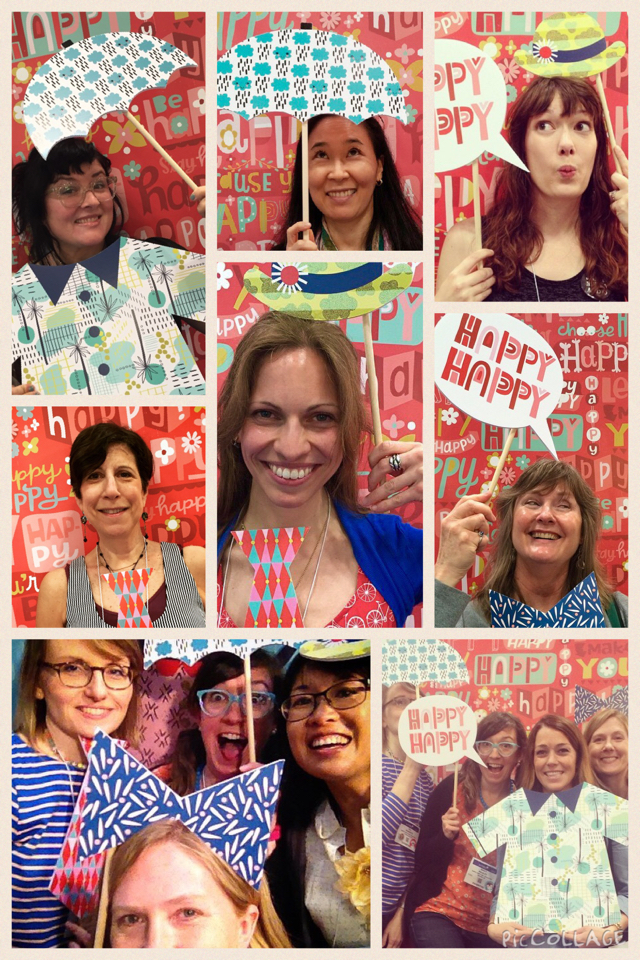 """We had lots of fun and great visitors at our selfie booth, complete with props! From top left,  Rachael Schaeffer,  Melissa Iwai,  Lauren!,Jennifer Orkin Lewis,Miriam Bos, Susan Brand,  the happy happy gang with Ohn Mar Win, and  us again with Anne 'Blankman"""" Bollman."""