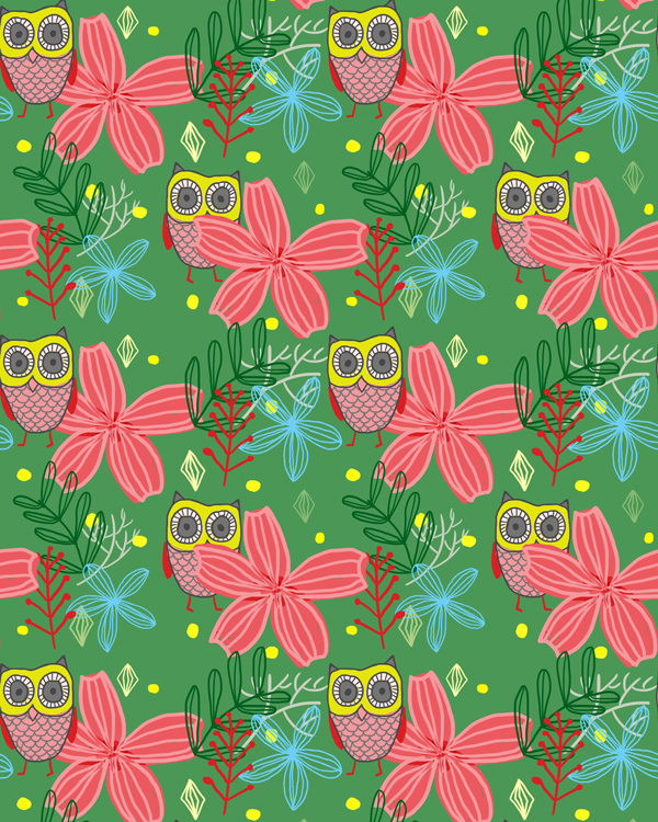 tammie bennett's owl wrapping paper for happy happy art collective