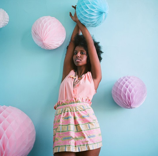AFIA paperbag skirt in cotton candy   photo: James De Leon talent: Fardosa Mohamed styling: Julianna Vezzetti design: Meghan Sebold