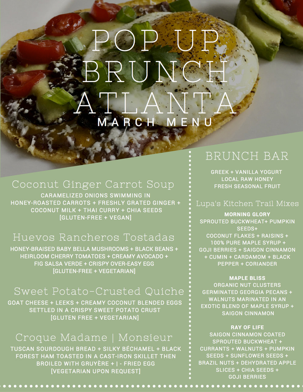 #PopUpBrunchAtlanta March Menu