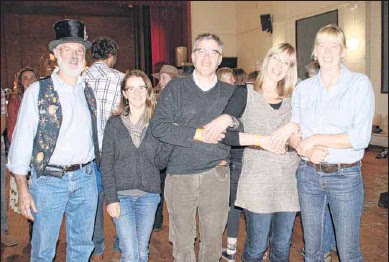 YEE-HA: Mike Giblin, Terie and Michael Quealy, Lanie Donaldson and Mareike Borchard were keen to launch into a toe-tapping dance routine at the Mittagundi bush dance.